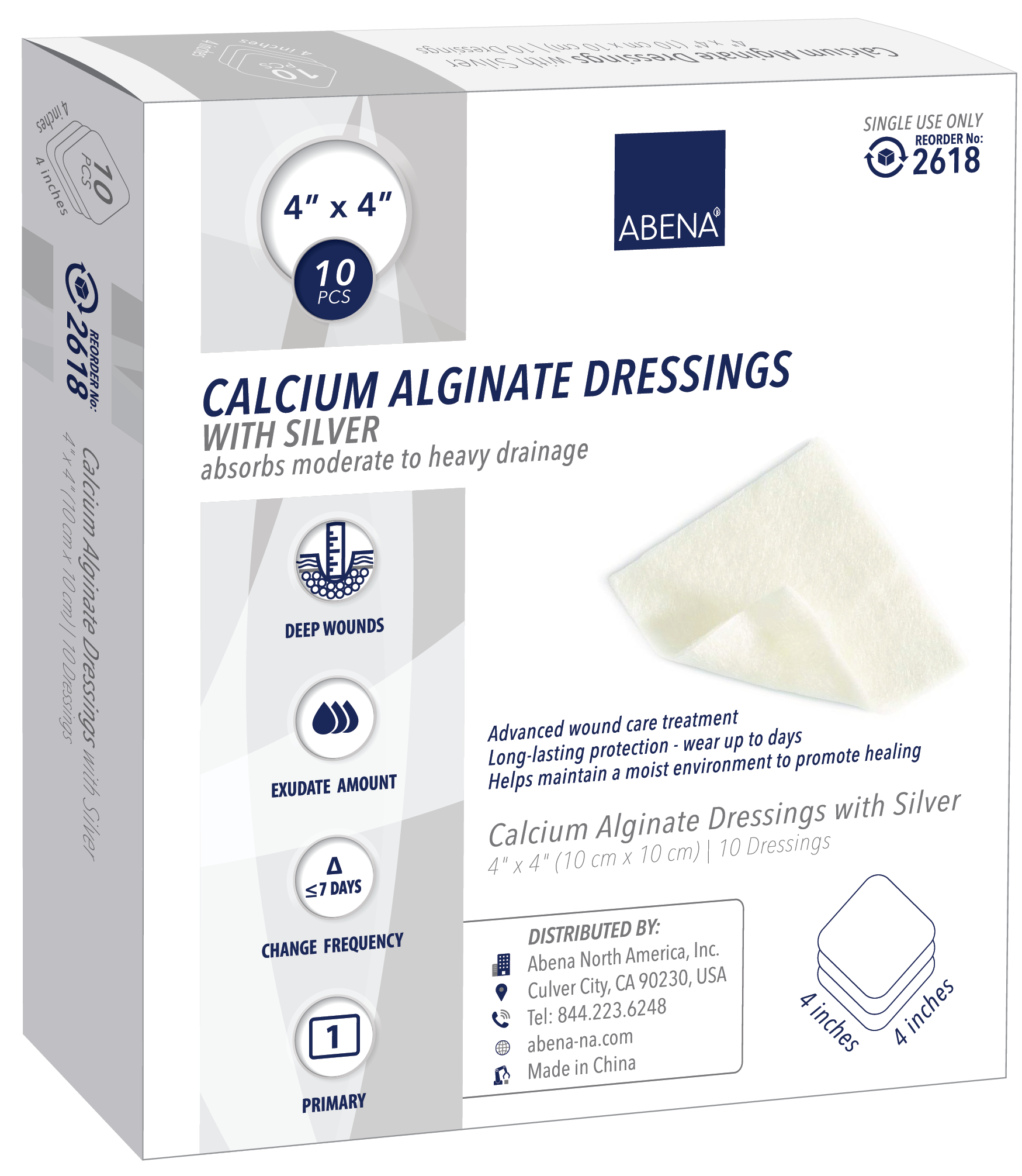 "Abena Silver Calcium Alginate Dressing, Sterile 4"" x 4"""