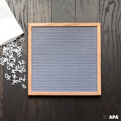 Gray Felt Letter Board with 650 Letters, Numbers & Symbols - 12x12 Inch Chang...
