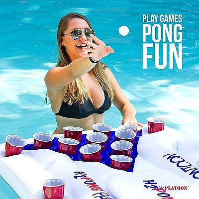 H2PONG Inflatable Beer Pong Table Float w Built In Cooler & 5 balls