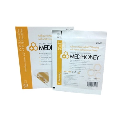 Medihoney Hydrocolloid Manuka Honey Dressing with Adhesive Border - Box of 10