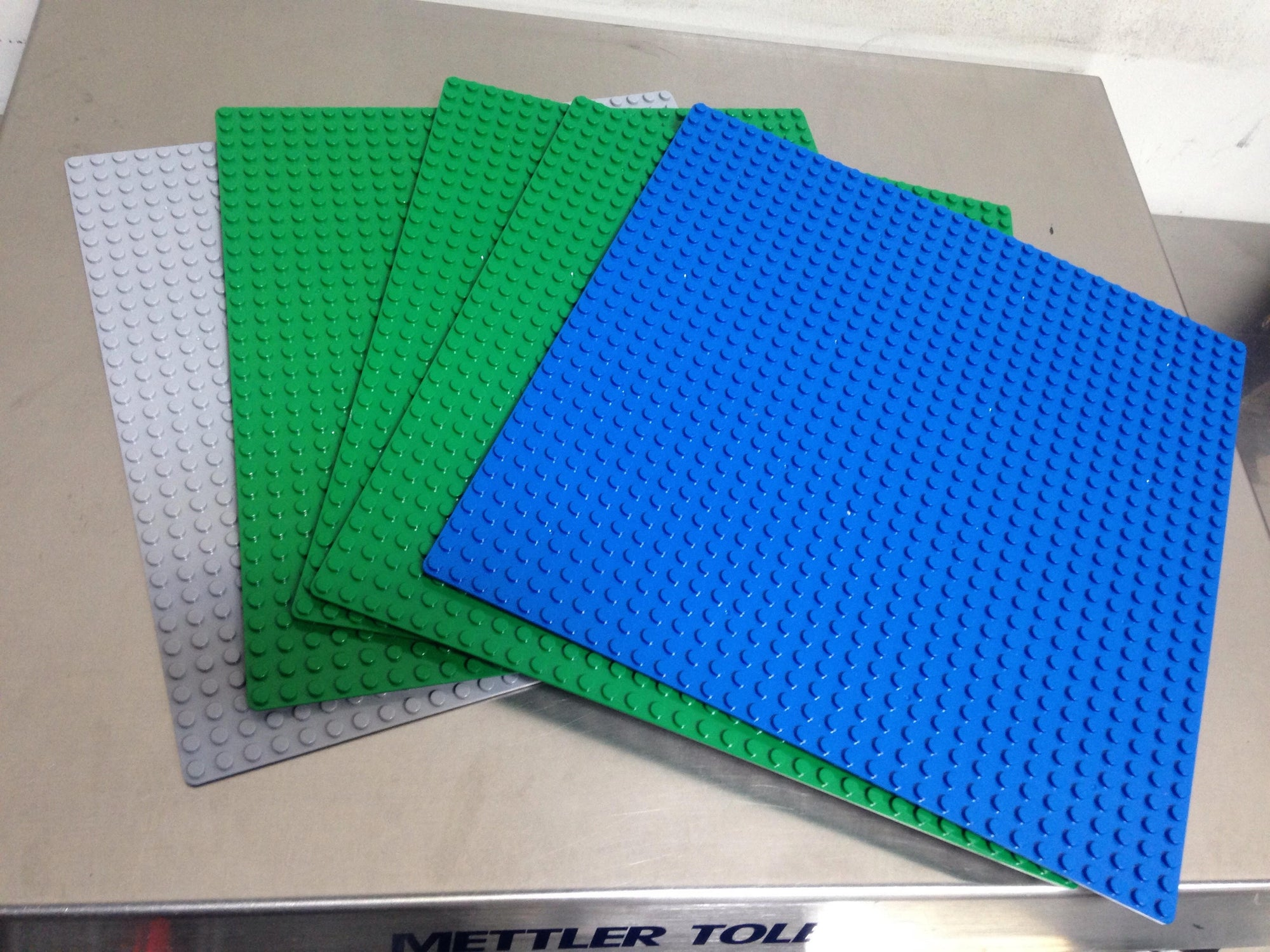 "Building Block Bricks 10"" x 10"" Baseplate Variety 5 Pack w 3M Base Sticker"