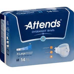 Attends Briefs Overnight Severe Incontinence LARGE, 14 pack