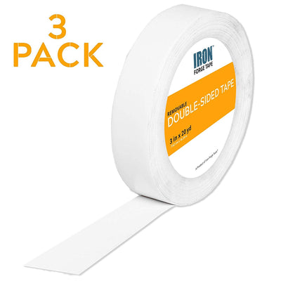"Removable Double Sided Tape - 3"" x 20 Yards, Pack of 6"