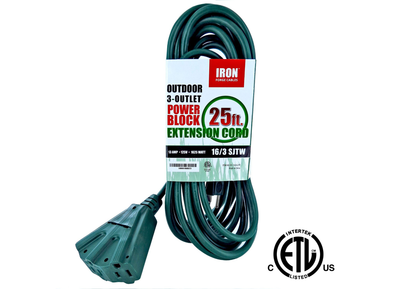 Iron Forge 16/3 SJTW Cable 3 Prong Extension Cord, 3 Power Outlets, 25 Ft - Used
