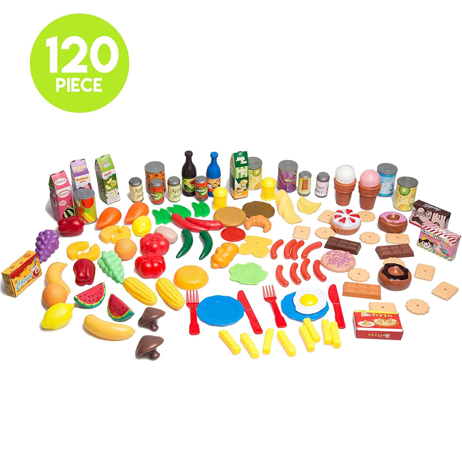 120 Piece Pretend Food Playset - Plastic Play Food Toys Set