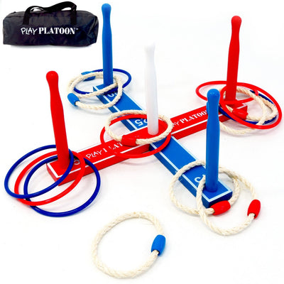 Play Platoon Ring Toss Game w/ Bag - 2 Sets of 8 Rings (Rope and Plastic) - Used