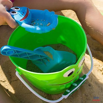 Kids Sand Toys Frog Bucket Set - Beach Toy Set with Bucket, Shovel, Rake, Sif...