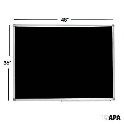 Large Magnetic Chalkboard with Eraser, Magnets, and Tray - 48 x 36 Inch Frame...