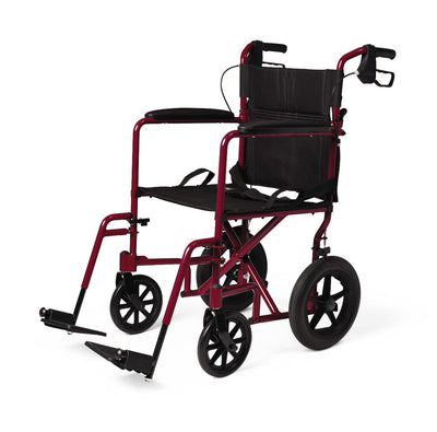 "Medline Aluminum Transport Chair with 12"" Wheels"
