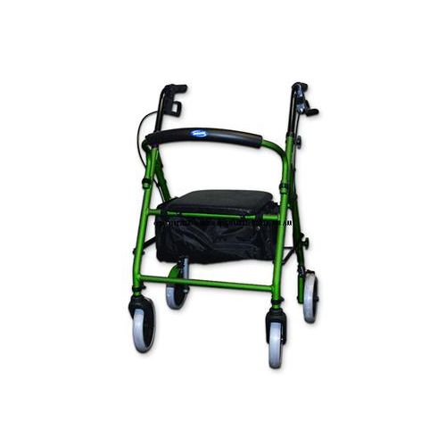 Soft Seat Lightweight Aluminum Rollator with Round Back - Black