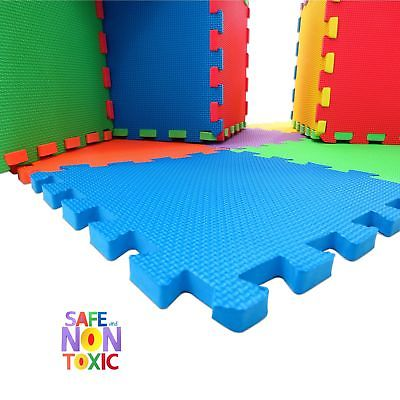 NON-TOXIC Extra Thick 9 Piece Children Play & Exercise Mat - Comfortable Cush...