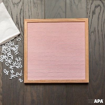 Pink Felt Letter Board with 650 Letters, Numbers & Symbols - 12x12 Inch Chang...