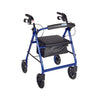Drive Aluminum Rollator with Fold Up and Removable Back Support, Padded Seat, 8in; Casters with Loop Locks (Red)