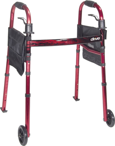 "Red Deluxe Folding Travel Walker with 5"" Wheels"