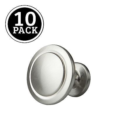 Satin Nickel Kitchen Cabinet Knobs - 1 1/4 Inch Round Drawer Handles - 10 Pac...