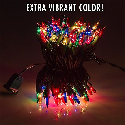 Set of 100 Multi Colored Miniature Christmas Lights - Mini Holiday String Lights