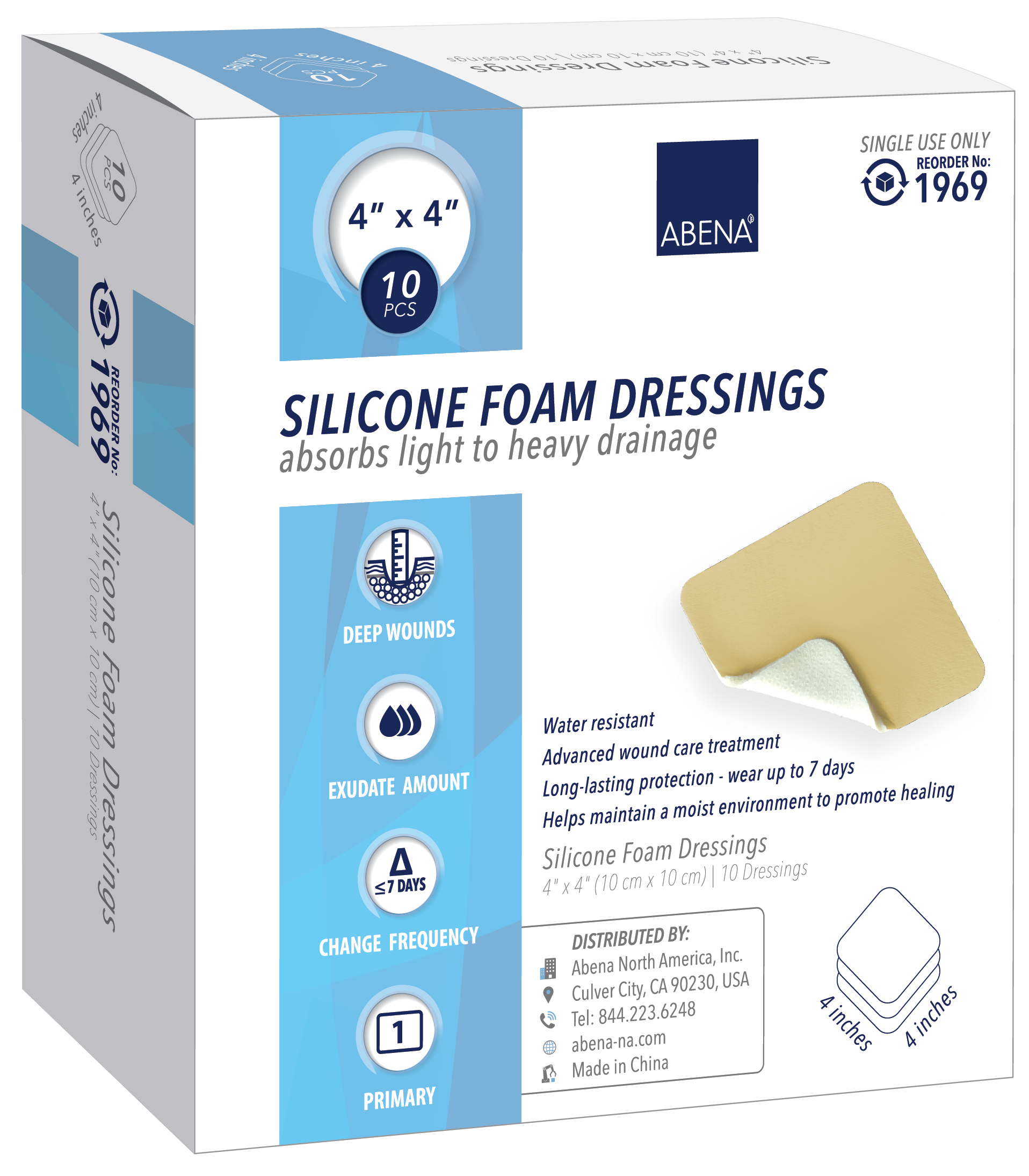 "Abena Silicone Foam Dressing with Film Backing, Sterile 4"" x 4"""