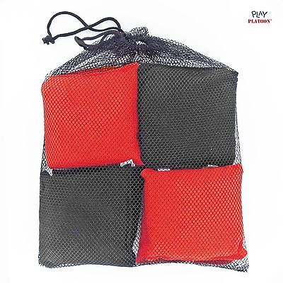 Weather Resistant Cornhole Bean Bags Set of 8 - RED / BLACK