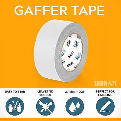White Gaffers Tape 2 Pack - 1in x 60 Yards Gaffer Tape Roll