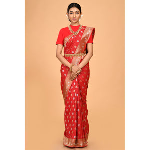 Elegant red pure cotton silk Saree- DD-P1-S529