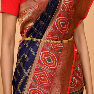 Royal Blue color Patola border and Zari Saree- DD-P1-S523