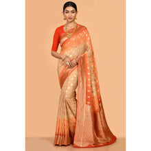 Load image into Gallery viewer, Ivory beige and orange Bandhani Saree- DD-P1-S520