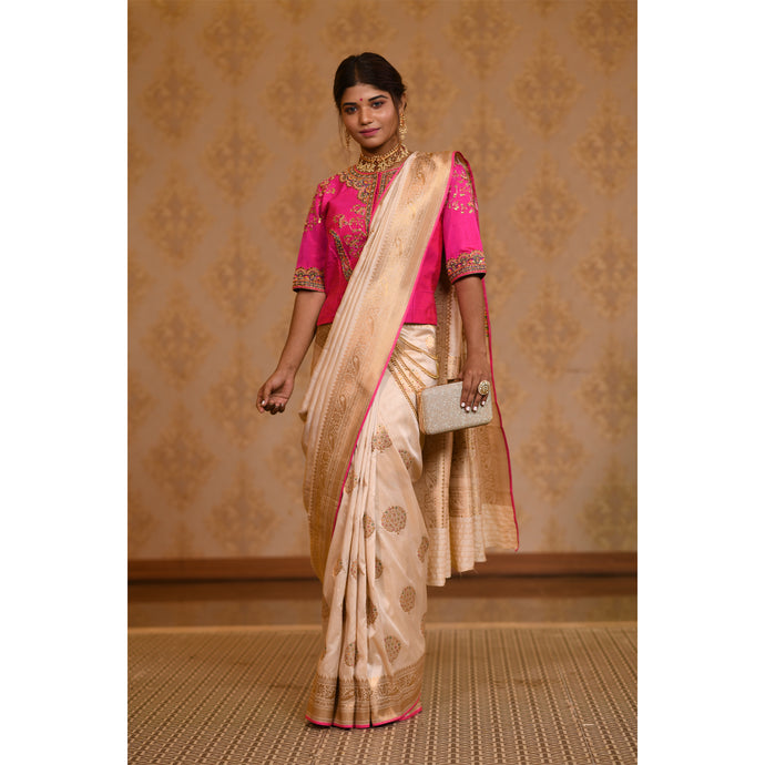 Bright Pink and Ivory Saree with Zari - DD-P1S504