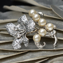 Load image into Gallery viewer, An Enchanting Diamond and Pearl Floral Brooch