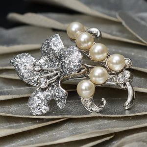 An Enchanting Diamond and Pearl Floral Brooch