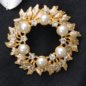 Floral Pearl Stone Studded Brooch