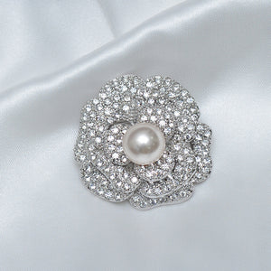 Floral Single Pearl Stone Studded Brooch