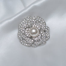Load image into Gallery viewer, Floral Single Pearl Stone Studded Brooch