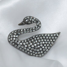 Load image into Gallery viewer, Black Swaroski Swan Stone Studded Brooch
