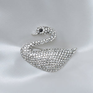 White Swan Stone Studded Brooch