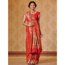Load image into Gallery viewer, Bright Red Bandhej Saree Weaved with Zari - DD-P1S505