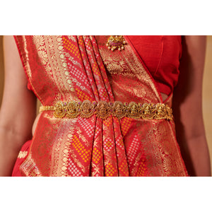 Bright Red Bandhej Saree Weaved with Zari - DD-P1S505