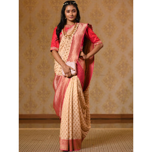 Ivory and Red Georgette Saree - DD-P1S501