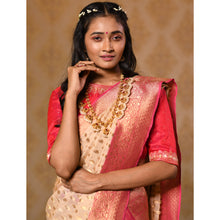 Load image into Gallery viewer, Ivory and Red Georgette Saree - DD-P1S501