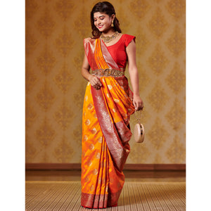 Kesar and Red Saree with Zari Bootas and Heavy Border - DD-P1S507