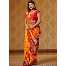 Load image into Gallery viewer, Kesar and Red Saree with Zari Bootas and Heavy Border - DD-P1S507