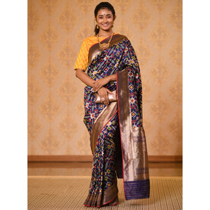 Navy Patola Silk Saree with Zari - DD-P1S503