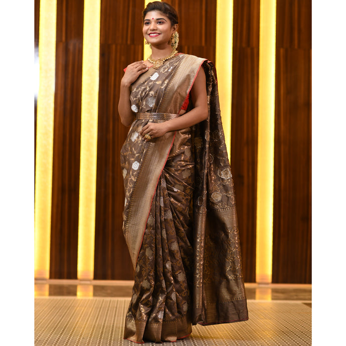 Crazy Chocolate Saree with Silver and Golden Zari - DD-P1S506