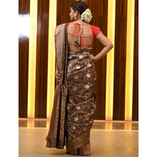 Load image into Gallery viewer, Crazy Chocolate Saree with Silver and Golden Zari - DD-P1S506