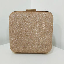 Load image into Gallery viewer, Rose Gold Glitter Frosted Evening Clutch - Square