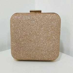 Rose Gold Glitter Frosted Evening Clutch - Square