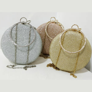 Glitter Frosted Evening Clutch - Round