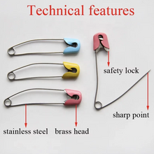 Load image into Gallery viewer, safety pins, double lock pins, double lock safety pins, high quality safety pins, sharp safety pins, saree safety pins