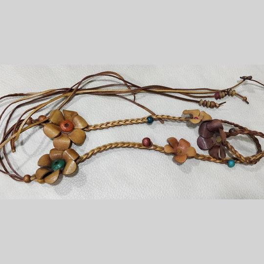 Braided Flower and Beads Belt