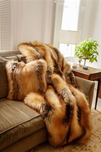 Faux Fur Throw Limited Edition, Red Fox