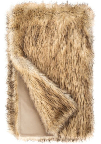 Faux Fur Throw Limited Edition, Taupe Fox